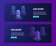 Isometric data flow processing concpet vector, server room, data center and database banner. Web hosting, dark ultra violet neon Royalty Free Stock Photography