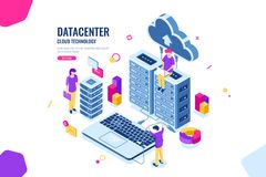 Isometric data security, computer engineer, data center and server room, cloud computing, people working together. Teamwork collective, color vector flat stock illustration