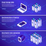 Isometric database. Computer, laptop and smartphone connected to cloud online data storage. Secure access to backup. Isometric database. Computer, laptop and vector illustration