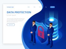 Isometric database protection concept. Server room rack, database security, shield server unit, computing digital. Technology. Internet equipment industry Stock Photography