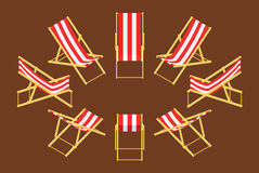 Isometric deck chair. Set of the isometric deck chairs. The objects are isolated against the brown background and shown from different sides Royalty Free Stock Photography
