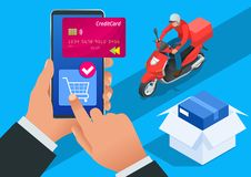 Isometric Delivery App isometric website template. Online shopping banner, fast delivery service. Woman using credit