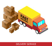 Isometric delivery car and set of cardboard boxes. Isometric vector illustration.  Stock Images