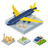 Isometric Delivery Concept. Air Cargo Plane Freight Transportation. Vector flat 3d illustration Royalty Free Stock Photo