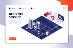 Free Isometric Delivery Concept. Logistic Truck And Shipping Service Mobile Phone App. Vector Landing Page Royalty Free Stock Images - 139079329