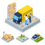 Isometric Delivery Concept with Truck, Courier and Freight Transportation. Vector flat 3d illustration Royalty Free Stock Photo