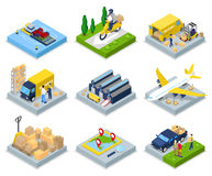 Isometric Delivery Concept. Worldwide Shipping. Warehouse, Air Cargo, Freight Transportation. Vector flat 3d illustration royalty free illustration
