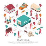 Isometric Delivery Moving Composition stock illustration