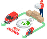 Isometric delivery service concept. Fast delivery car, fast delivery motobike, delivery man, stopwatch. Vector 3d Stock Images