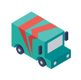 Isometric Delivery Truck Object or Icon - Element for Web, Tileset Map, Landscape Design, Urban Architecture Stock Image