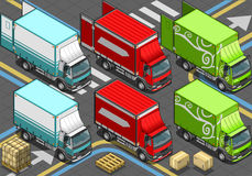 Isometric Delivery Truck in Three Livery Stock Photo