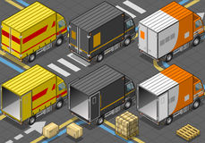 Isometric Delivery Truck in Three Livery Stock Photos