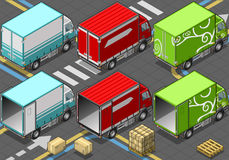Isometric Delivery Truck in Three Livery Stock Image