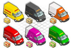Isometric delivery van. And some pack Royalty Free Stock Image