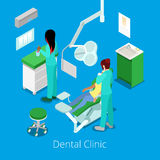 Isometric Dentist Cabinet Interior with Patient and Doctor royalty free illustration