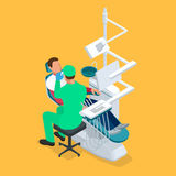 Isometric dentist examining mans teeth in the dentists chair. Medicine concept Stock Photo