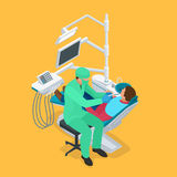 Isometric dentist examining mans teeth in the dentists chair. Medicine concept Royalty Free Stock Photos