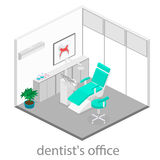 Isometric dentist office. Dentistry and doctors office, dental and medical, health oral, mouth healthcare illustration Stock Photos