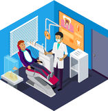Isometric Dentist Office During Reception Patient Stock Image