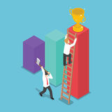 Isometric design businessman destroy the ladder of success of hi. S rival by using axe, VECTOR, EPS10 Stock Images