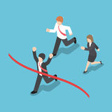 Isometric design businessman winning competition and crossing th Stock Photos