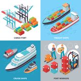Sea Port 2x2 Design Concept. Isometric 2x2 design concept with freight and cruise ships and sea port workers isolated on colorful background 3d vector Stock Photos