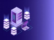 Isometric design for Data Center, big data server and local servers connected with laptop on matrix coding background. Isometric design for Data Center, big royalty free illustration