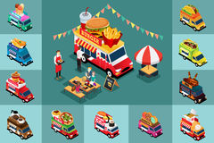 Isometric Design of Different Food Trucks Stock Photography