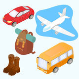 Isometric design icons set of traveling. Stock Photos