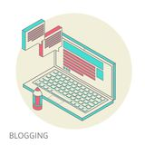 Isometric design modern concept of blogging Royalty Free Stock Photography