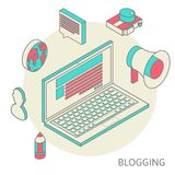 Isometric design modern concept of blogging Royalty Free Stock Images