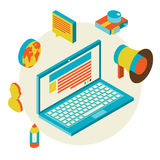 Isometric design modern concept of blogging Royalty Free Stock Photo