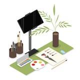 Isometric designer workplace stock illustration