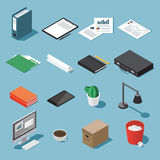 Isometric desk equipment set. Isometric office equipment vector set: paperwork, tablet, clipboard, book, folder, pen and pencil, table lamp, desktop, case Royalty Free Stock Photography