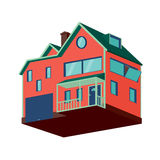 Isometric detached house with garage. Isolated house. Isometric detached house with a garage Royalty Free Stock Image