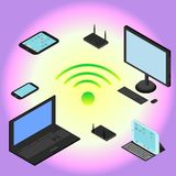 Isometric devices laptop, smartphone, tablet, computer, modem, router, wifi network Stock Image