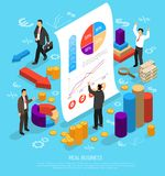 Business Infographic Conceptual Composition. Isometric diagrams infographics business illustration with human characters 3d graphs money arrows and flat Stock Images