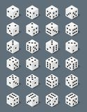 Isometric dice number lucky game fortune casino variants loss gamble cube vector illustration. Set of isometric dice number lucky symbol. Game fortune casino stock illustration