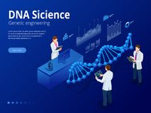Isometric Digital DNA structure in blue background. Science concept. DNA sequence, Nanotechnology vector illustration. royalty free illustration