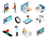 Isometric Digital Heart Monitoring Elements Set. With doctors patients medical diagnostic procedures and electronic devices isolated vector illustration Stock Image