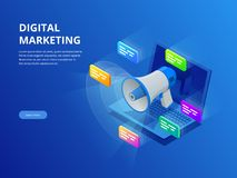Isometric digital marketing, business marketing, success and goals, new startup project concept. Flat vector illustration for business, infographic, banner Royalty Free Stock Photo