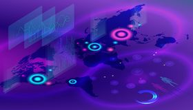 Isometric digital World map. Concept of over population. vector illustration of global map in isometric style on violet background royalty free illustration