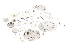 Isometric. Dismantled old mechanical wristwatch isolated on whithe background.  stock images