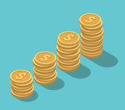 Isometric dollar coins stacks Royalty Free Stock Photography