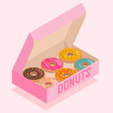 Isometric donuts box. Isometric illustration of pink box with donuts stock illustration