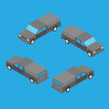 Isometric double cab pickup truck. On the blue background Stock Photography