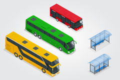 Isometric Double Decker Bus, City public bus and bus stop with blank surface for your creative design. Road vehicle Stock Photo