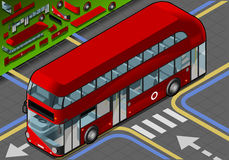Isometric Double Decker Bus in Front View Stock Images
