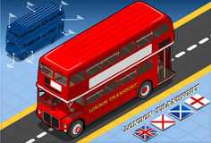 Isometric Double Decker Bus in Front View Royalty Free Stock Image