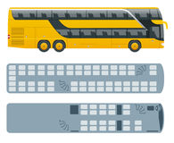 Isometric Double Decker Bus or intercity and plan of seating arrangements. Urban transport. For infographics and design Stock Photo